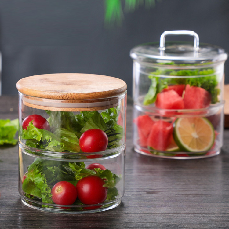 With Lid Hand Made Custom 300ml Luxury Glass Container Kitchen Storage Container