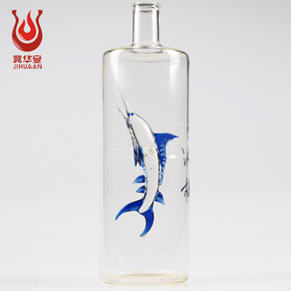 Vodka bottle / square oval paste vase lead-free Glass Beverage Bottles For Wine Whiskey
